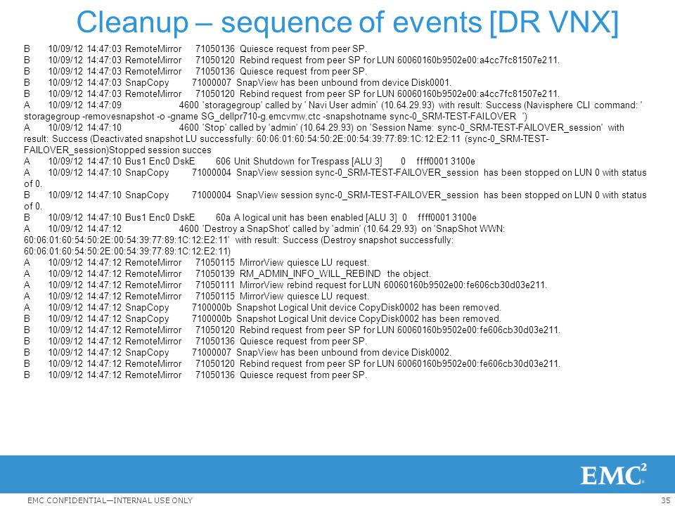Cleanup – sequence of events [DR VNX]